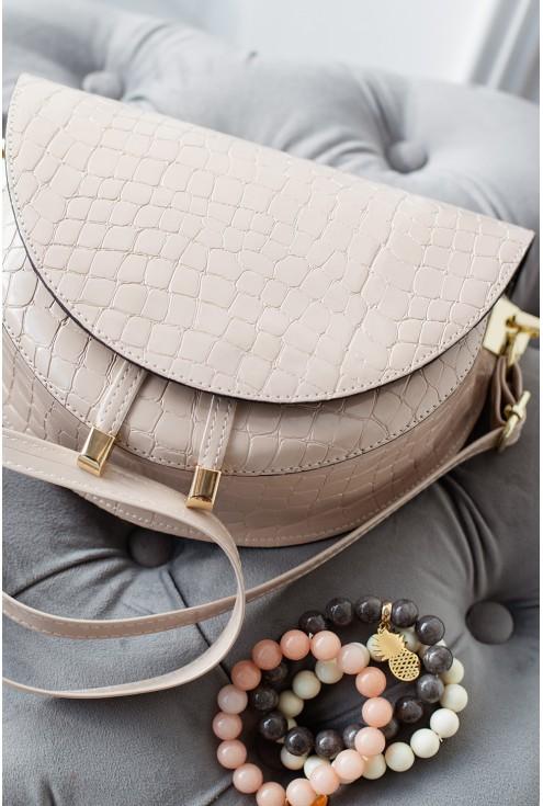 elegancka beżowa torebka ze złotymi detalami motyw wężowy