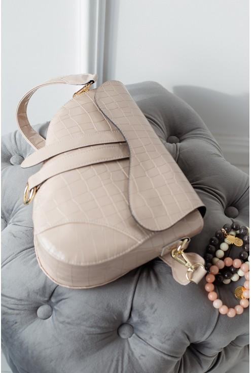 Beżowa asymetryczna torebka z paskiem na ramię