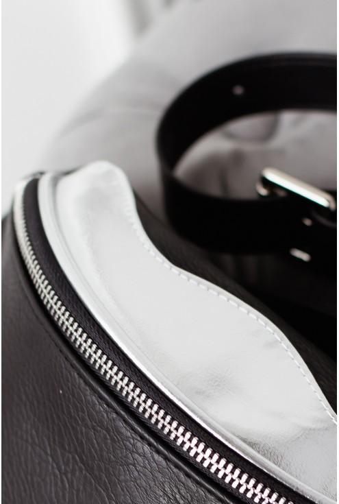 srebrny suwak czarna nerka AGA II