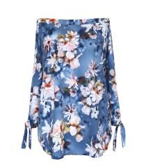Jeansowa bluzka hiszpanka w kwiaty - MARIBEL