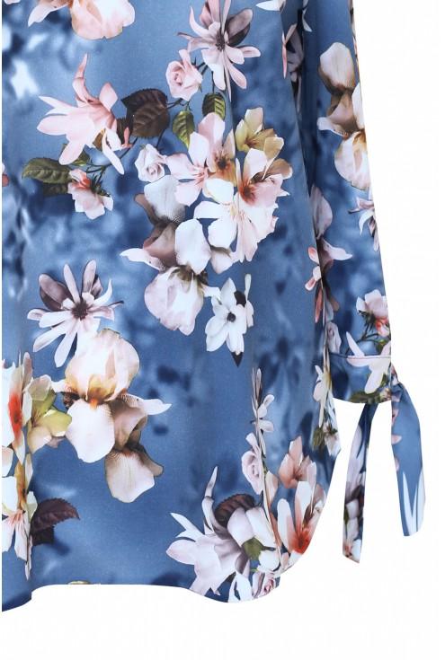 jeansowa bluzka w kwiatki xxl