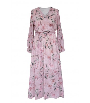 Pudrowa sukienka maxi z kwiatowym wzorem - VALENTINA