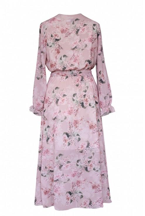 tył różowej sukienki valentina w kwiaty plus size XL-ka.pl