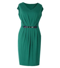 Zielona sukienka dzianinowa LUNA | DUŻE ROZMIARY