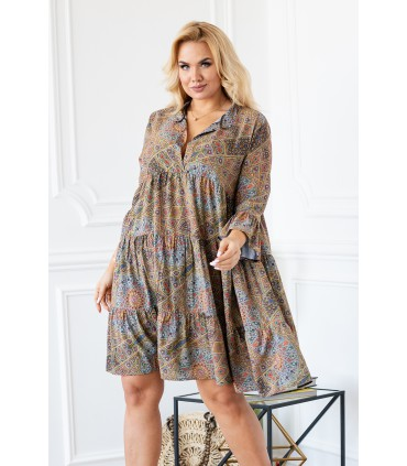 Sukienka boho z drobnym wzorem i falbankami - SABINE