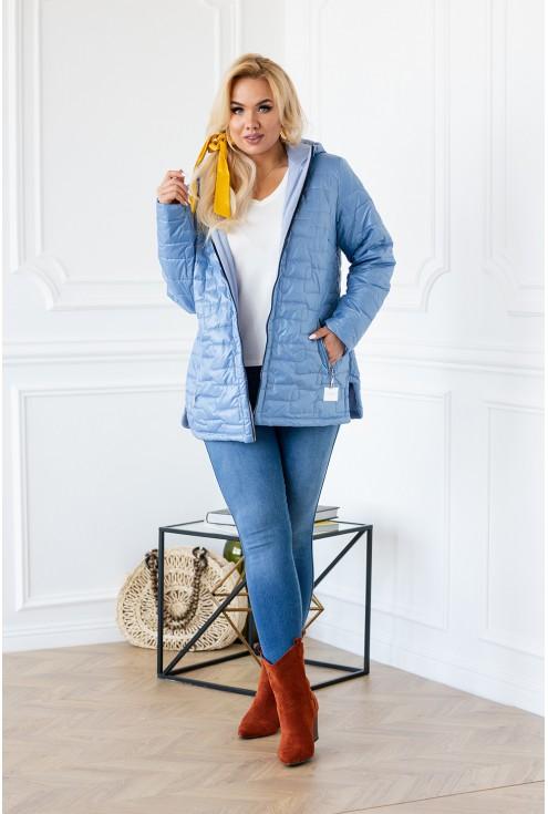 jasnoniebieska kurtka pikowana plus size
