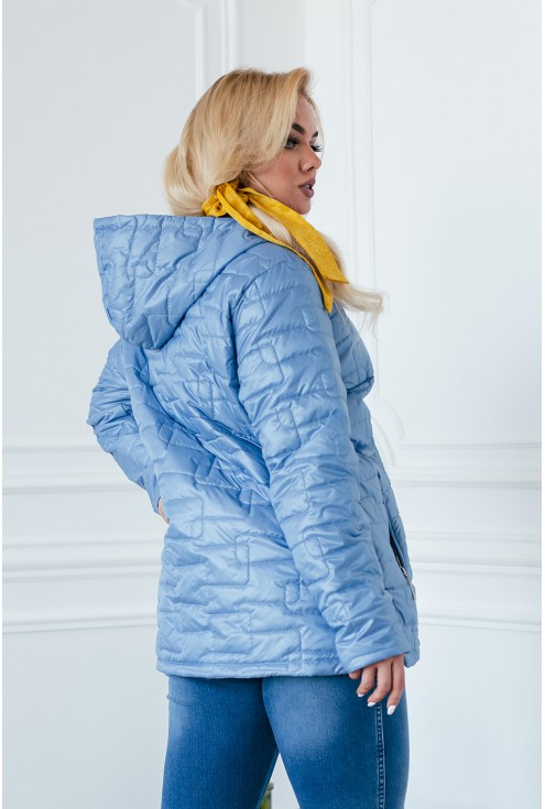 Niebieska pikowana kurtka z kapturem - BRIDGET