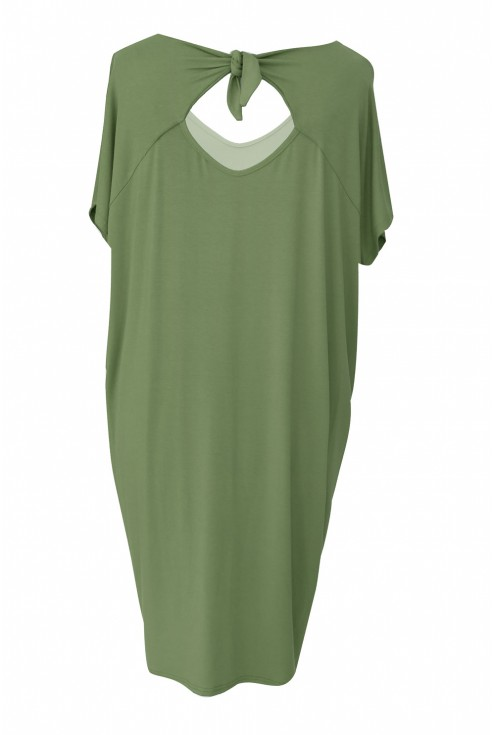 Oliwkowa dzianinowa sukienka z kokardką z tyłu - CRYSTAL