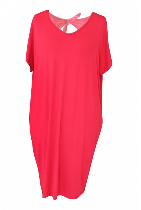 różowa sukienka oversize z wiskozy xxl