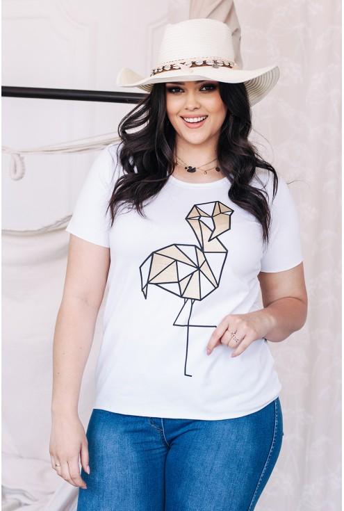 biały t-shirt z flamingiem xxl