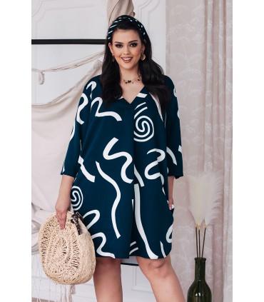 Granatowa sukienka z białym wzorem - CHIARA