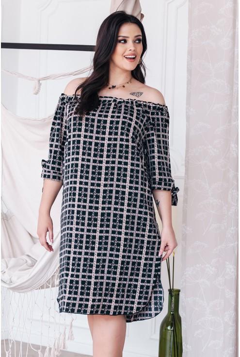 czarna sukienka plus size xxl napisy