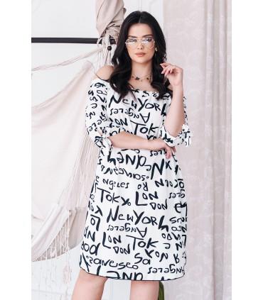 Biało-czarna sukienka hiszpanka z napisami - MARITA
