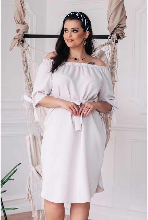 Sukienka w kolorze kości słoniowej ELENE xxl