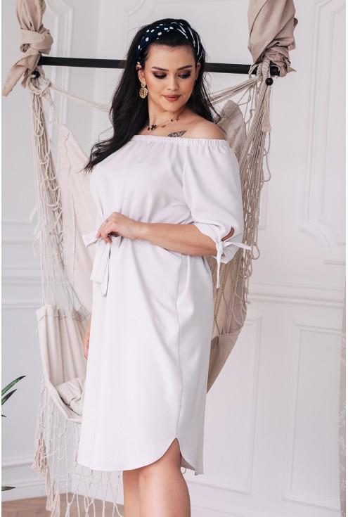 sukienka plus size dla puszystych ELENA kość słoniowa