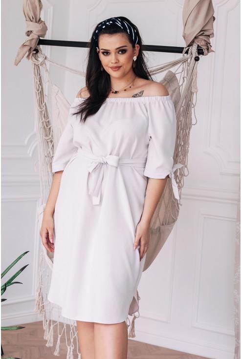 Klasyczna sukienka w dużych rozmiarach w kolorze kości słoniowej xxl elena
