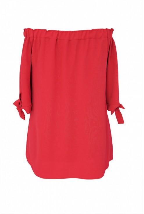 Czerwona bluzka hiszpanka z wiązaniem NINA - tył