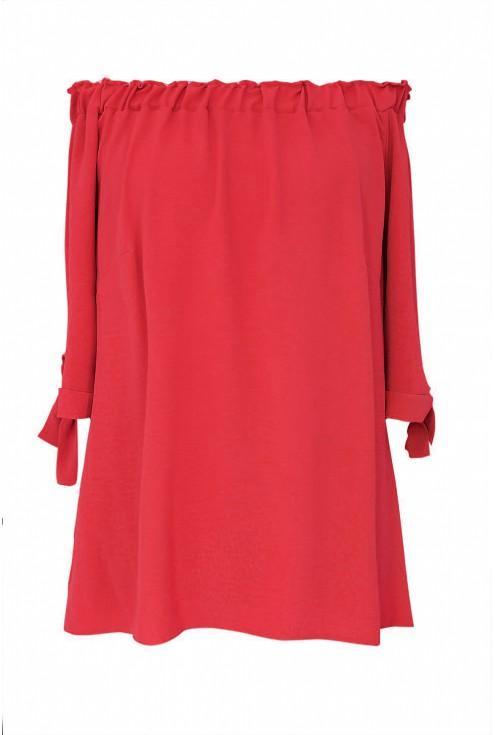 Czerwona bluzka hiszpanka z wiązaniem NINA - przód
