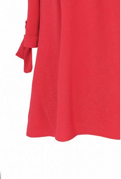 Czerwona bluzka hiszpanka z wiązaniem NINA - detal