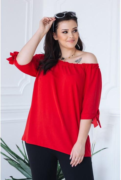 Czerwona bluzka hiszpanka z wiązaniem NINA