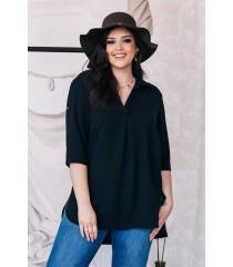 Czarna tuniko - koszula - SUSANNY II z krótkim rękawem