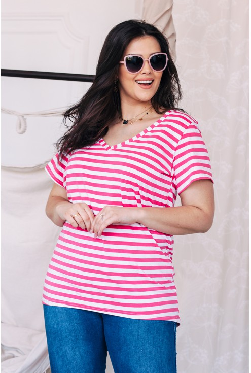 przod bluzki w rozowe paski xxl