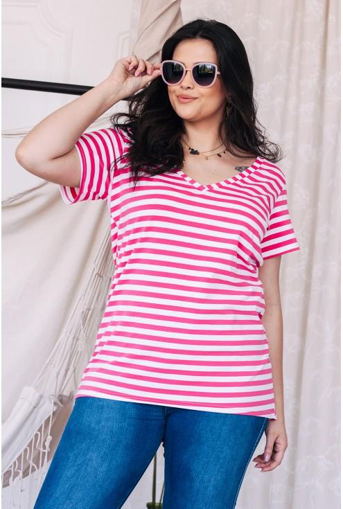 bluzka w rozowe paski okulary
