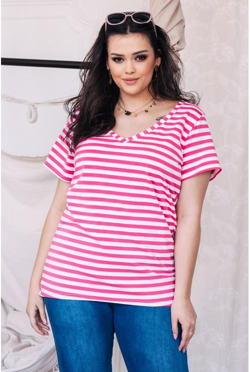 bluzka w różowe paski plus size