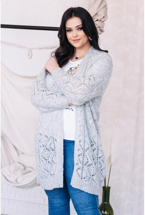 jasno szary ażurowy sweterek narzutka xxl