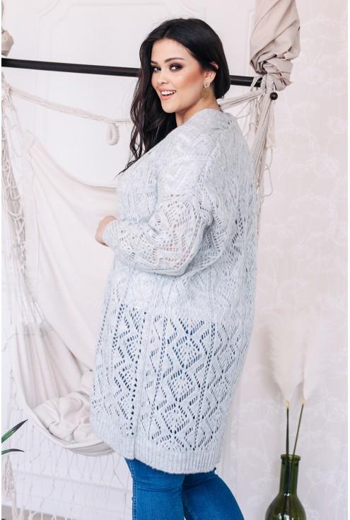 bok sweterka ażurowego w kolorze szarym xxl