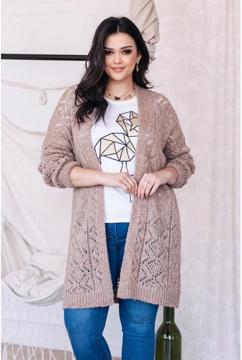 ażurowy sweterek beżowy  xxl