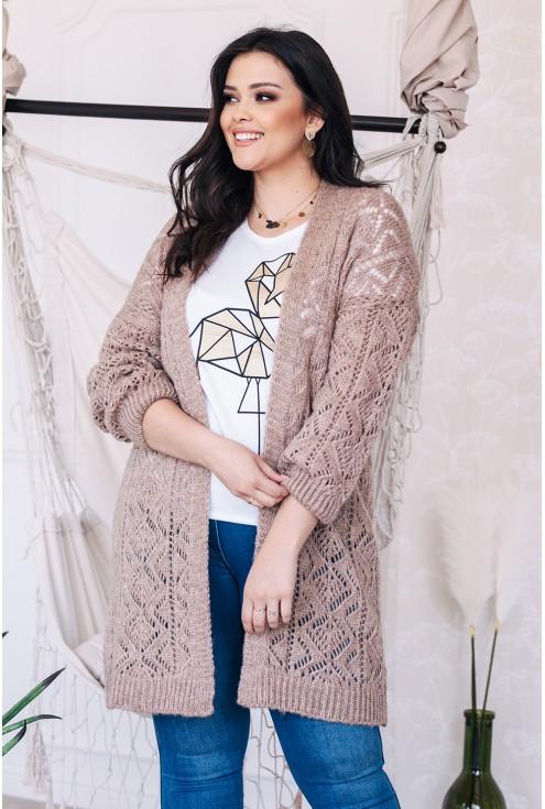 narzutka sweterek ażurowy duże rozmiary xl