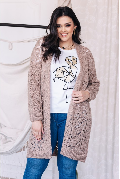 dłuższy sweterek ażurowy w kolorze beżu