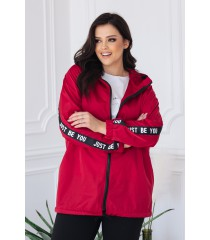 Czerwona lekka kurtka przeciwdeszczowa z ozdobnymi taśmami - MARGOT