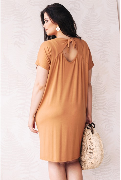 tył sukienki wiązanie na plecach xl camelowa