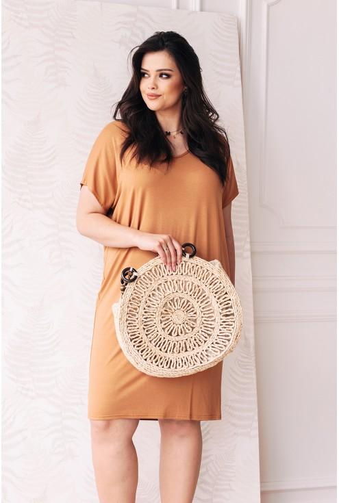 sukienka camelowa idealna na co dzień  xxl