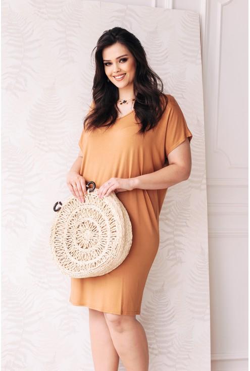 wygodna sukienka camelowa wiązanie na plecach xxl