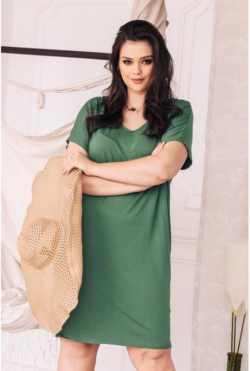 sukienka w kolorze oliwkowym z wiązaniem na plecach xxl