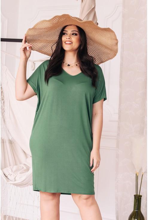 oliwkowa sukienka w dużych rozmiarach xxl