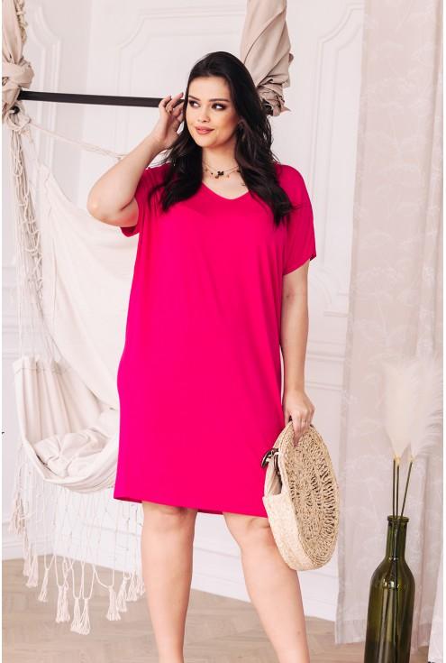 letni amarantowy kolor sukienka w dużych rozmiarach xxl