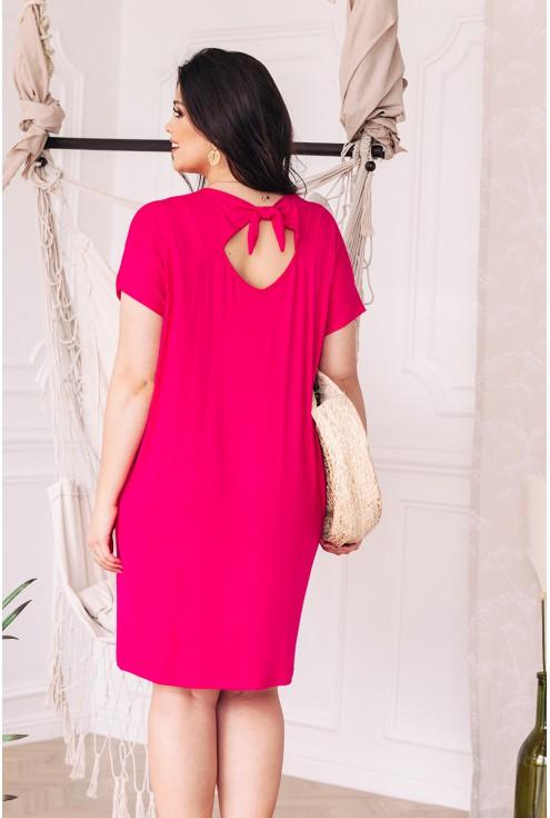 zdobienie na plecach sukienki z dzianiny kolor amarant xxl