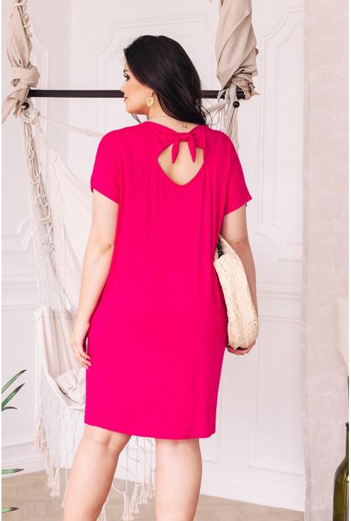 tył sukienki amarantowej wiązanie na plecach xl