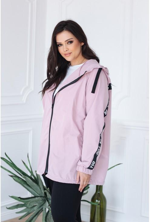 czarne troczki różowy kolor kurtka idealna na wiosnę dla puszystych