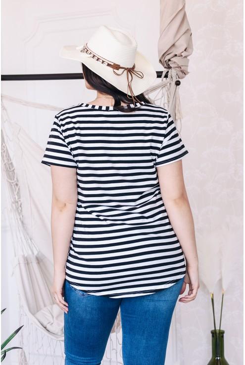 tył bluzki w paski czarno białe paski xxl