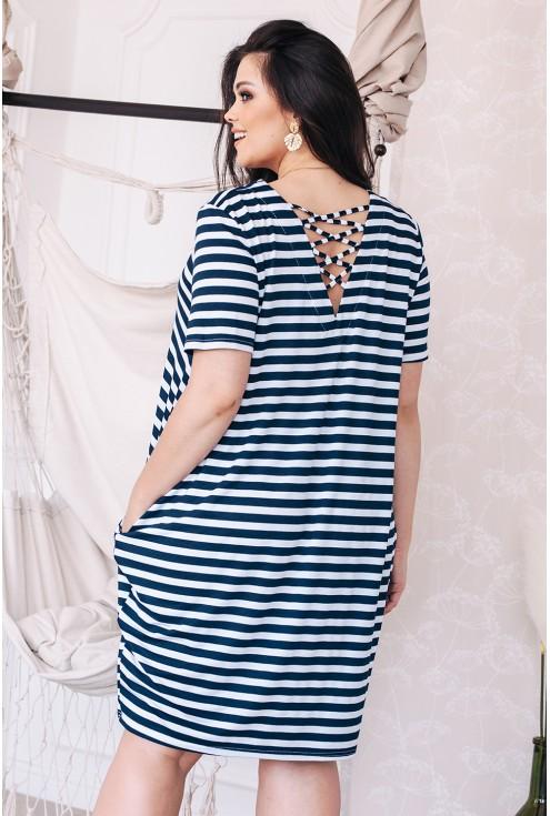 tył sukienki w paski sznurowanie na plecach