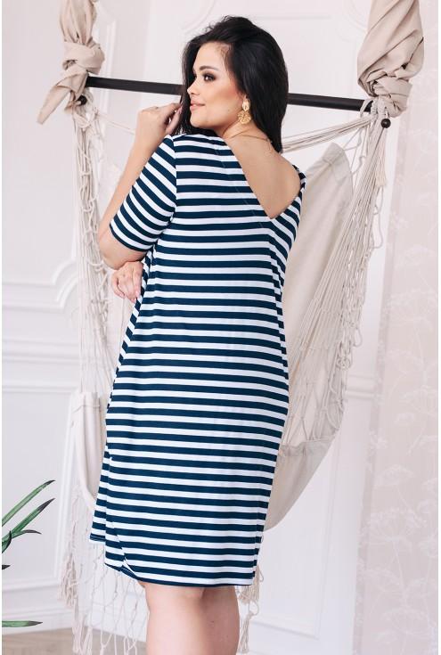 xlka sukienki w paski w dużych rozmiarach tył