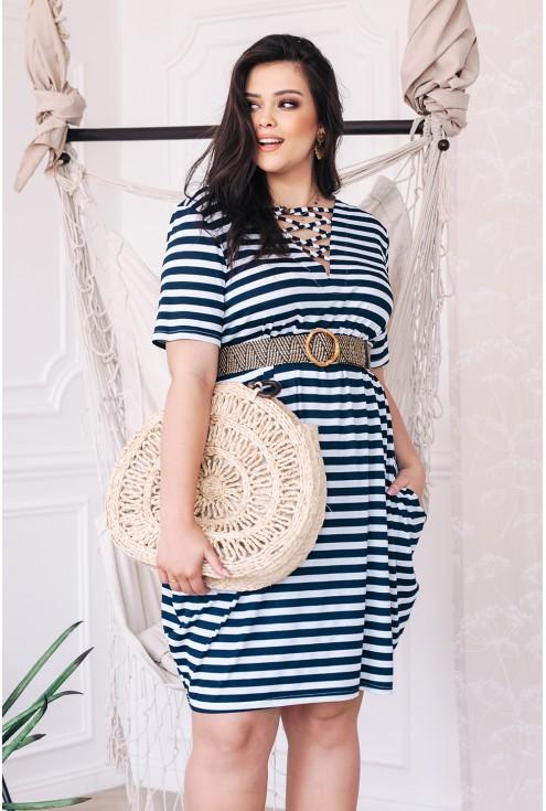letnia sukienka w stylu marynarskim sznureczki