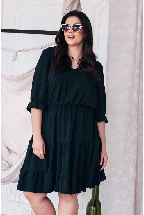 Czarna sukienka z falbankami xxl