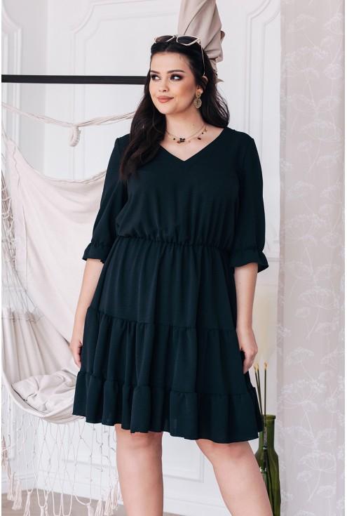 Sukienka czarna falbanka xxl plus size