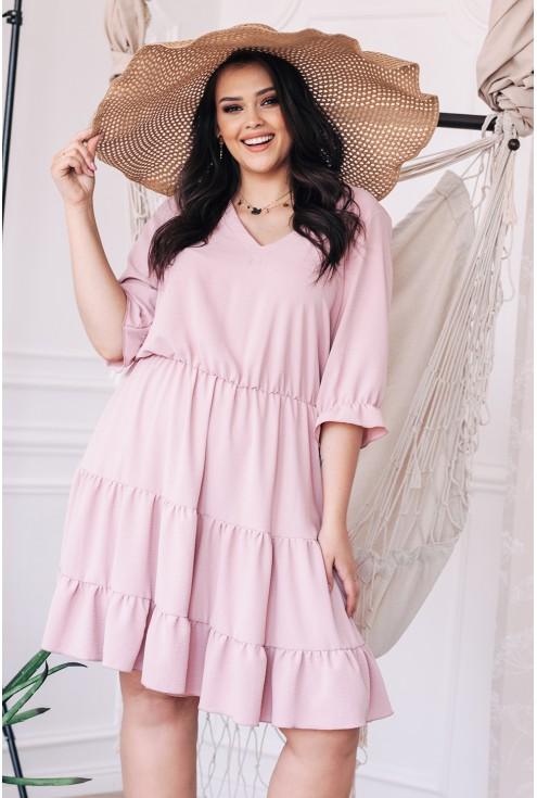 Różowa sukienka z falbanką xxl